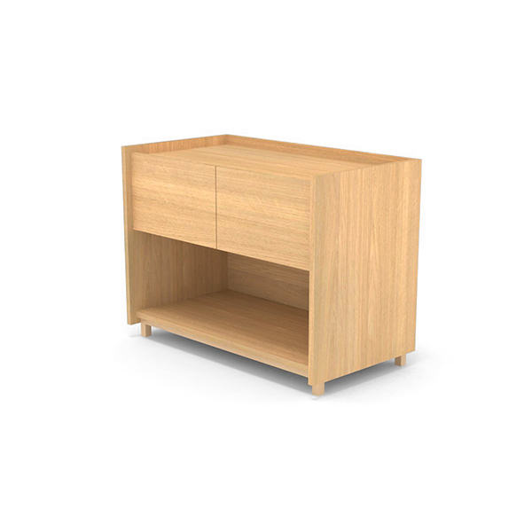 Cajonera hub mod lateral roble natural perspectiva